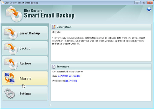 Migrate Outlook Main Screen